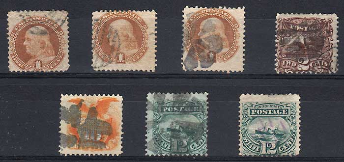 U.S.A. #112/117 VG/F Used 1869 Group sml flts