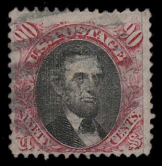 U.S.A. #122 gen Fine Used 1869 90c Lincoln corner cr