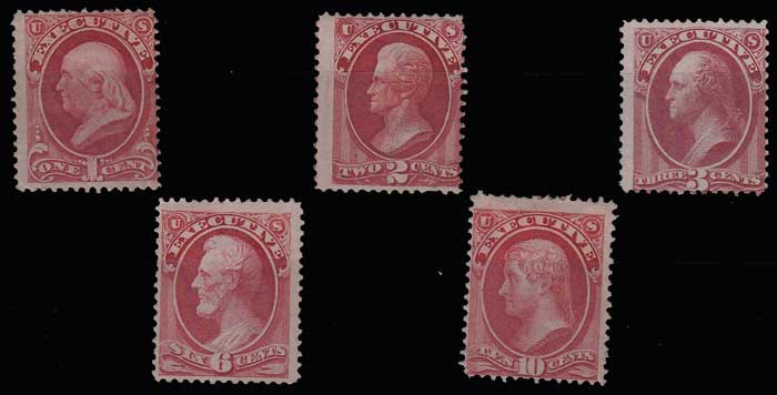 U.S.A. #O10-O14 gen Fine Mint HR 1873 Set