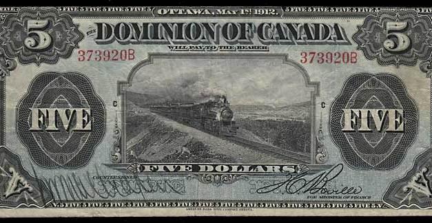 Dominion of Canada 1912 $5 Train Banknote