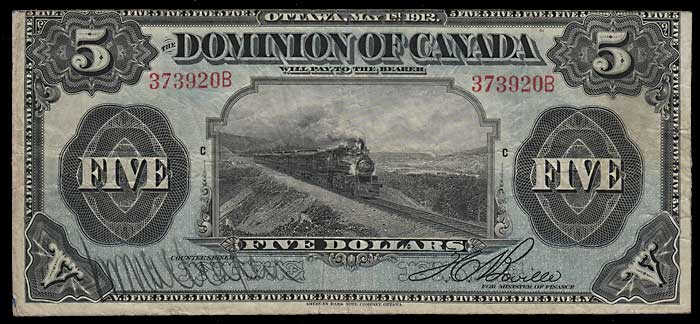 Dominion of Canada gen Fine 1912 $5 Train Banknote