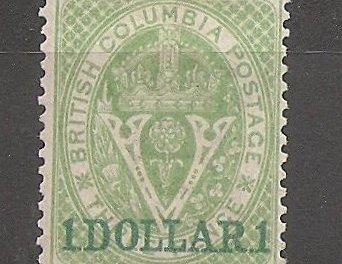 British Columbia #13 Fine Mint HR 1867/1871 $1 on 3d Green rounded corner
