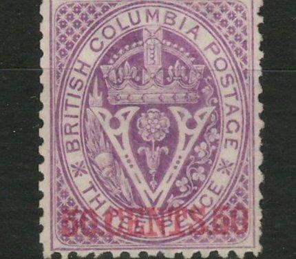 British Columbia #17 Fine Unused 1869 50c on 3d Violet, short perf