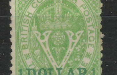 British Columbia #18 1869 $1 on 3d Green