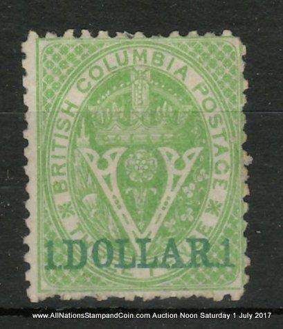 British Columbia #18 Fine Unused 1869 $1 on 3d Green, usual rough perfs