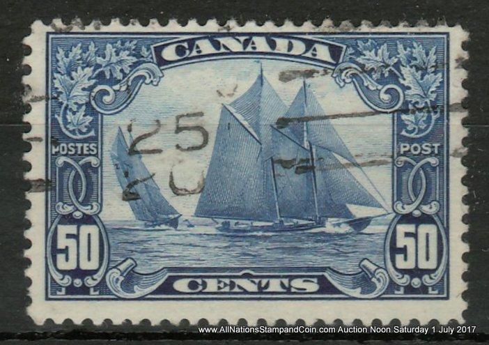 Canada #158iii Fine Used Man on the Mast Variety, hidden wrinkle $1000