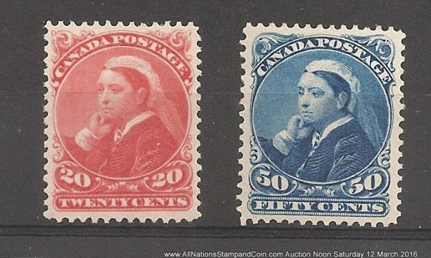 Canada #46-47 VF Mint HR 1893 20c & 50c Widow Weed High Value duo