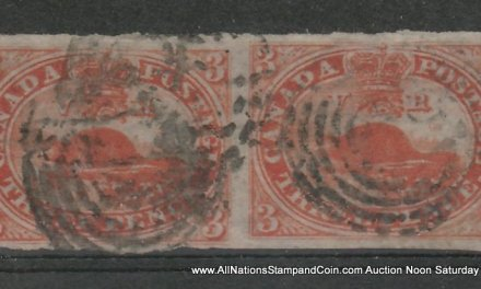 Canada #4d 1852/1857 3d Thin Paper Horizontal Pair