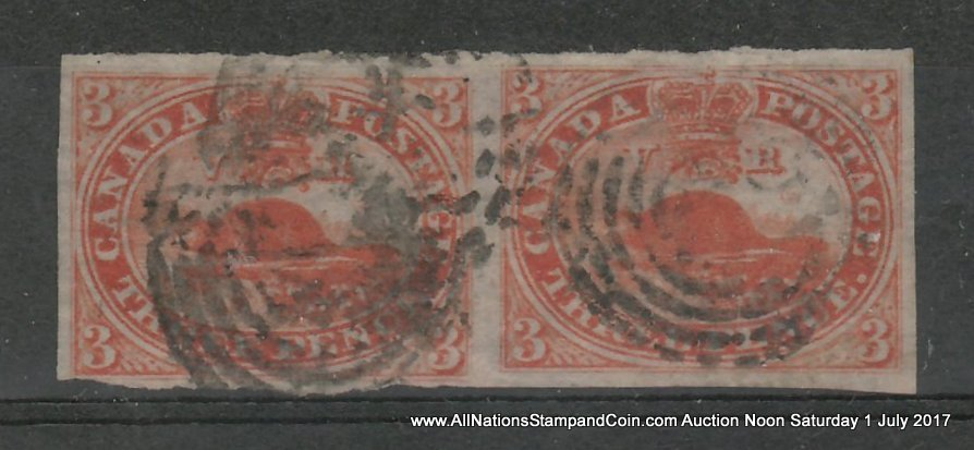 Canada #4d about VF Used 1852/1857 3d Thin Paper Horizontal Pair