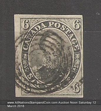 Canada #5b F/VF Used 1855 6d Albert Grayish Green Shade