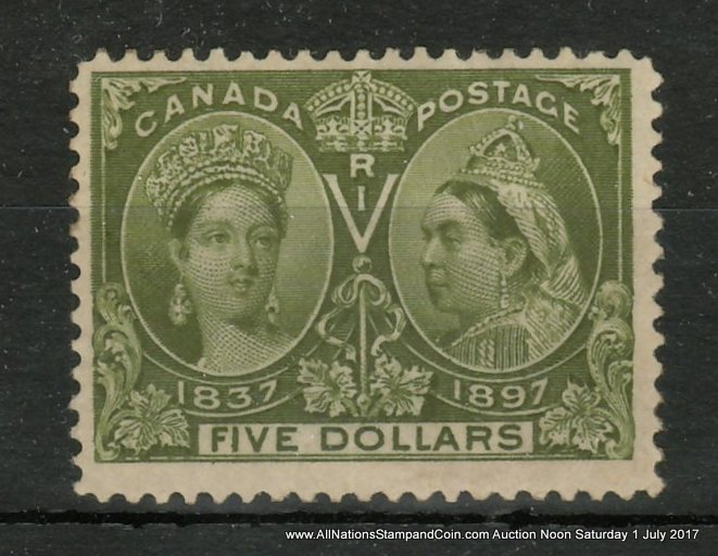 Canada #65 Fine regummed 1897 $5 Jubilee, re-entry, wrinkle $1000