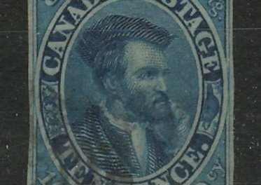 Canada #7 VF Used 1855 10d Cartier Thin Paper