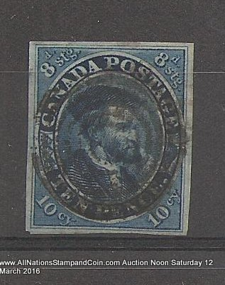 Canada #7 VF Used 1855 10d Cartier trifle rounded corner