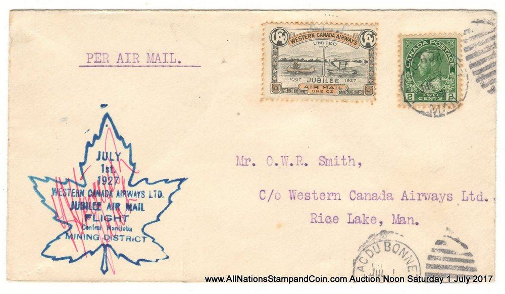 Canada #CL41 1 July 1927 Lac du Bonnet/Rice Lake pilot-signed Cover, toned pfs