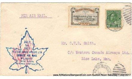 Canada #CL41 1 July 1927 Lac du Bonnet/Rice Lake pilot-signed Cover