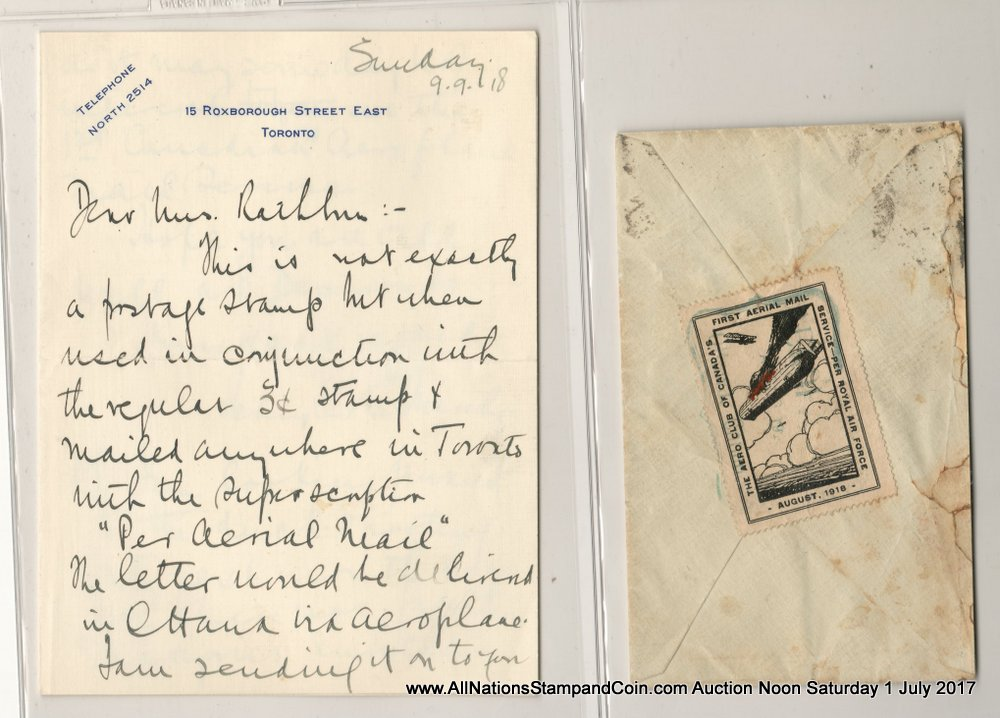 Canada #CLP1 26 Aug 1918 cacheted 25c Toronto/Ottawa Flight Cover etc, faults