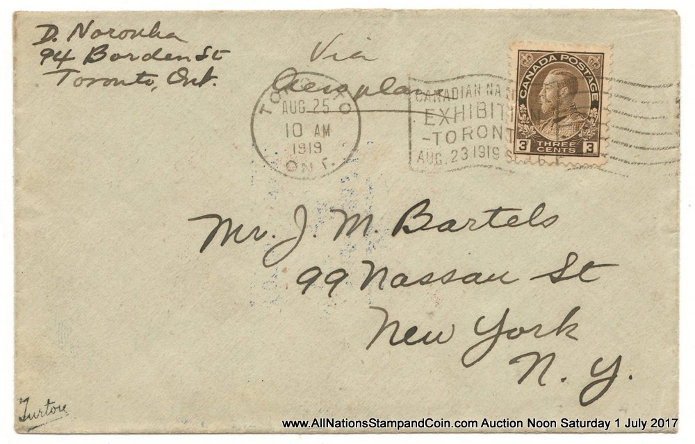 Canada #CLP3c 25 Aug 1919 $1 Aero Club First Day Cover, age spots $925