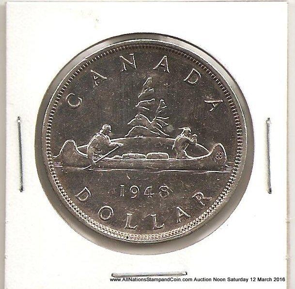 Canada Unc 1948 Voyageur Silver Dollar bag marks