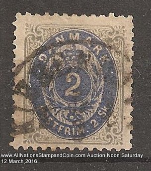 Denmark #21 F/VF Used 1871 2s Key issue blunt perfs, internal tear
