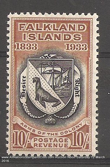 Falkland Islands #74 VF Mint 1933 5/- Penguin perf corner crease 1974 B.P.A. Cert