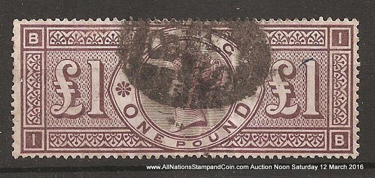 G.B. #110 F/VF Used 1884 Pound Brown Violet creased & wrinkled