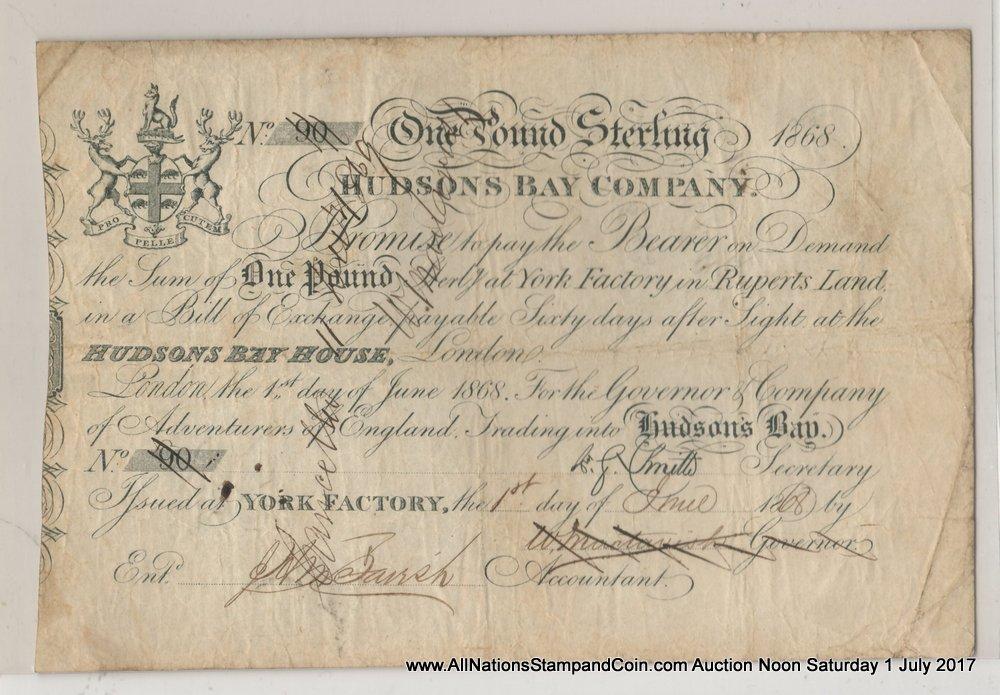 Hudson's Bay Company Fine 1868 York Factory Pound $2000