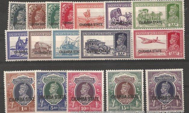 India/Chamba #70/87 F/VF Mint 1938 3p/25R George VI