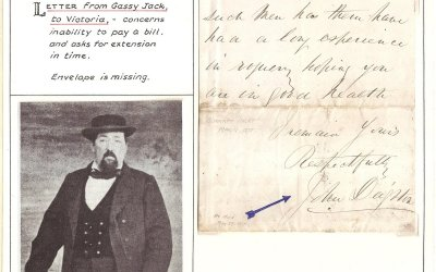 John Gassy Jack Deighton Signed 11 March 1875 ex Wellburn