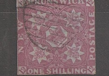 New Brunswick #3 VG Used 1851 1/- Bright Red Violet repaired top left