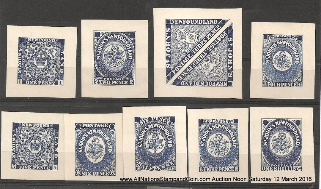 Newfoundland#15P-23P VF 1929 1d-1/- Blue Perkins Bacon Reprint Proof Set
