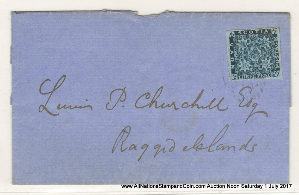 Nova Scotia #3 28 Apr 1859 3d Dark Blue Folded Letter Sheet, toned margin