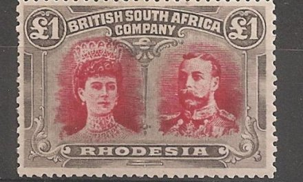 Rhodesia #118 F/VF Mint 1910 Pound Double Head short perf