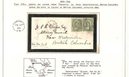 incoming New Westminster, B.C. 1863 25c Toronto Mourning Cover ex Wellburn
