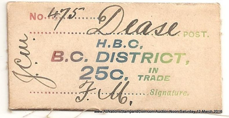 Hudson's Bay Company B.C. District XF Dease 25c Card Money ex Hodgkinson