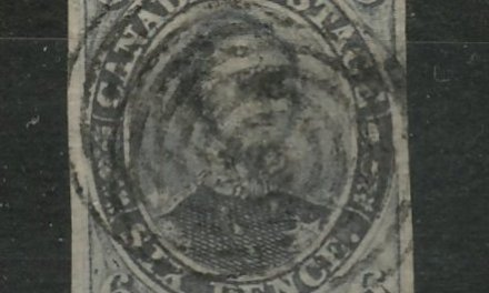 Canada #2 VF Used 1851 6d Albert, clear laid lines