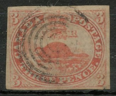 Canada #1a F/VF Used 1851 3d Orange Red