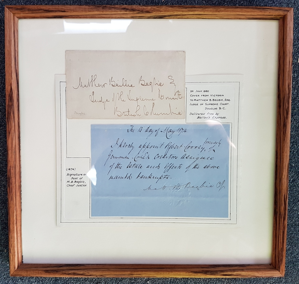 Matthew Baillie Begbie framed 1874 Signature & Seal etc ex Wellburn