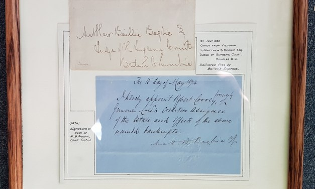 Matthew Baillie Begbie framed 1874 Signature & Seal etc ex Wellburn