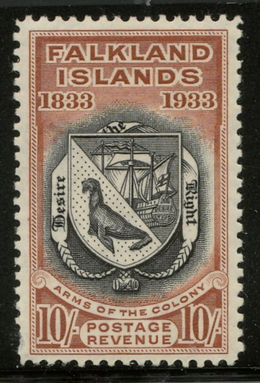 136 Falkland Islands #75 F/VF Mint 1933 10/- Centenary US$850.