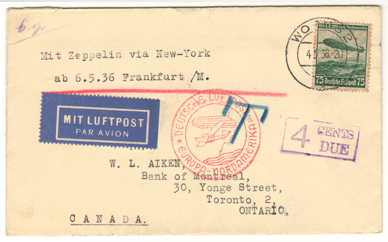 Lot 138  Germany 1936 4c North American Zeppelin Flight Cover to Toronto