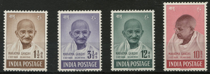 India #203-206 Mint 1948 1.5a-10R Gandhi Set