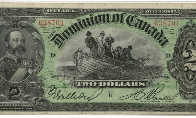 Dominion of Canada #DC14b 1897 $2 Fishing Dory