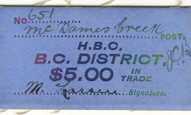 Hudson's Bay Company B.C. District McDames Creek $5 Card Money