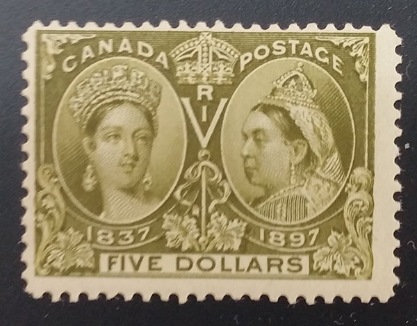 Canada #65 Fine Never Hinged 1897 $5 Jubilee $2400.