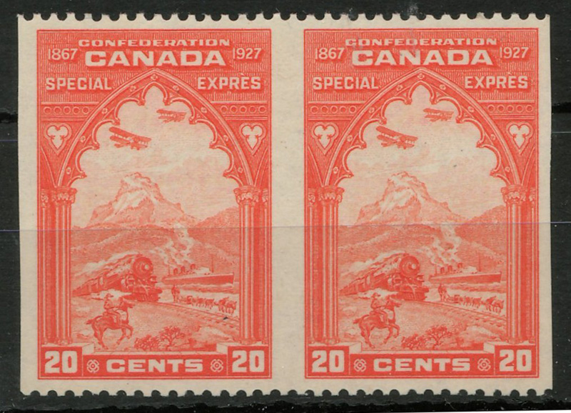 Lot 88 Canada #E3c VFNH 1927 20c Perf by Imperf Horizontal Pair $500.