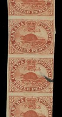 Strip of 10 three penny beavers