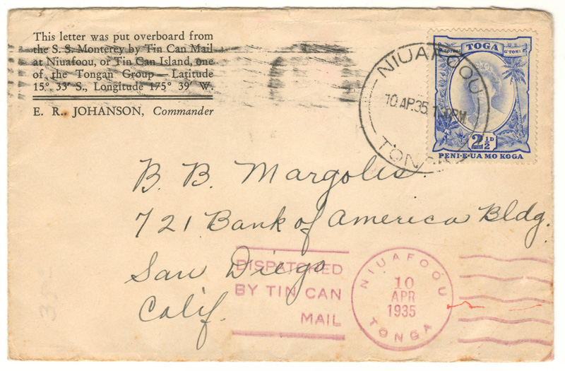 Lot 172 Tonga 1935 2.5d Tin Can Canoe Mail Cover to San Diego