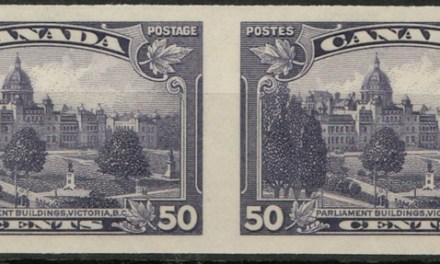 Canada #226a VFNH 50c 1935 Victoria Horiz Imperf Pair