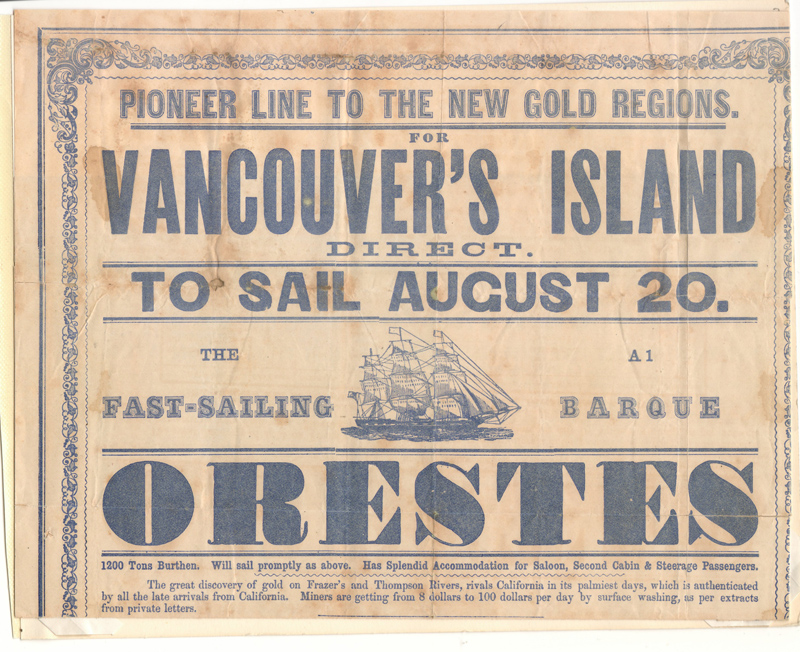 Page 3 Orestes broadsheet from 1858 Fraser River Gold Rush collection