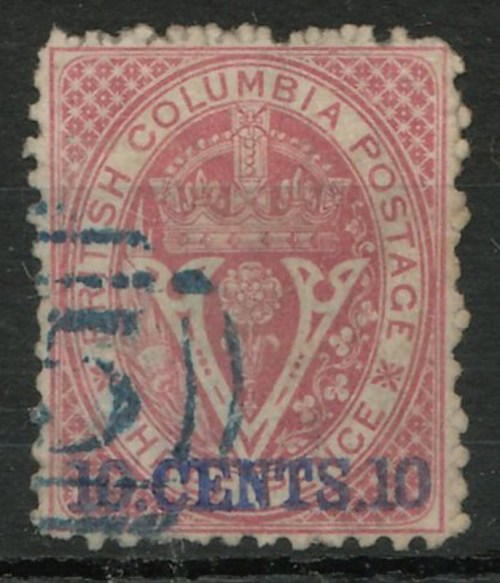 Lot 98 British Columbia #15 Fine Used 1869 10c on 3d $1200.